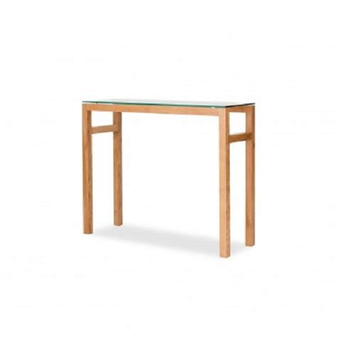 tribe console tribe glass console table in clear with solid white oak