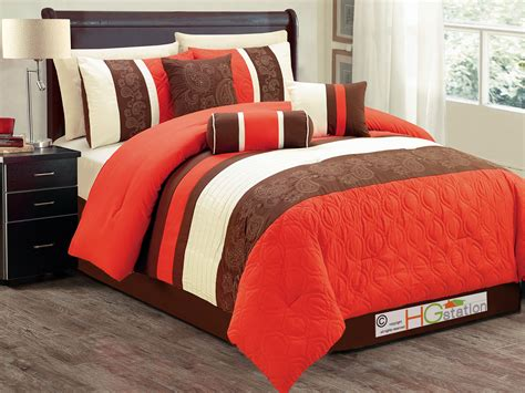 off white comforter set 7p marquise paisley scroll embroidery comforter set orange