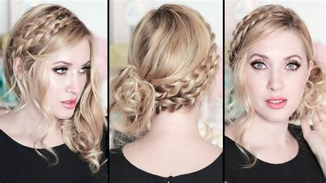 side curly hairstyles youtube prom wedding party hairstyles braided side swept curls