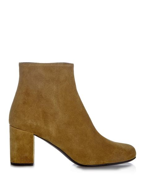 laurent babies 70 block heel suede ankle boots in