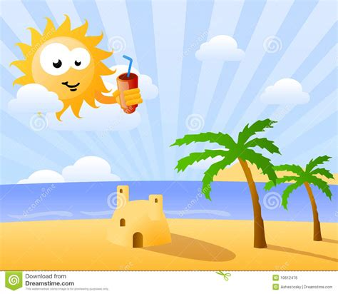 clipart divertenti sole divertente che osserva sopra la spiaggia