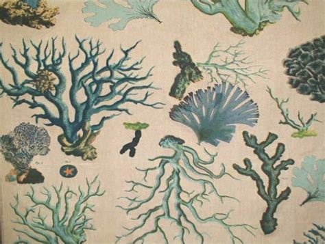 sea life upholstery fabric illustrated sealife coral drapery fabric blue linen weave