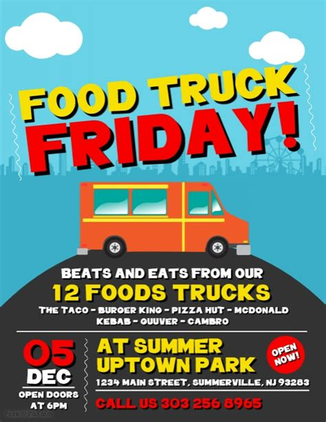 Copy Of Food Truck Friday Flyer Postermywall Food Truck Flyer Template