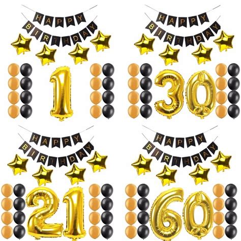 Balon Foil Happy Birthday Size 60 Cm 1st 16 20 21 30 40 50 60 years happy birthday paper banner number foil balloons adults