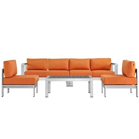 shore 5 outdoor patio aluminum sectional sofa set