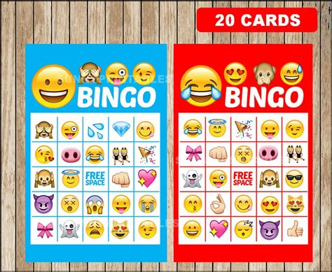 printable emoji games printable 20 emoji bingo cards printable emojis bingo game