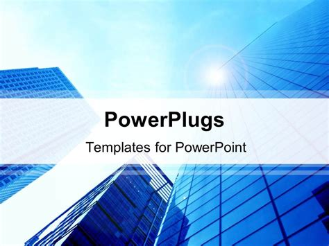 Powerpoint Template 3 Blue Skyscraper Buildings Viewed Powerplugs Powerpoint Templates