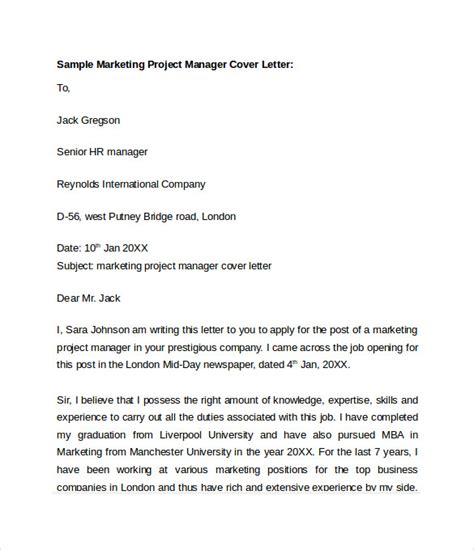 Marketing Manager Cover Letter Exles Sle Marketing Cover Letter Template 8 Free Documents In Word