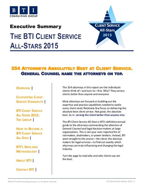 Client Service Consultant by Bti Client Service All 2015 Executive Summary