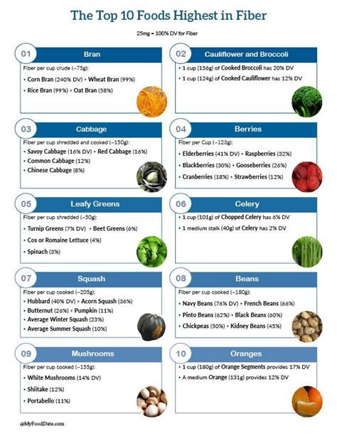 vegetables low in fiber top 10 high fiber foods printable one page sheet