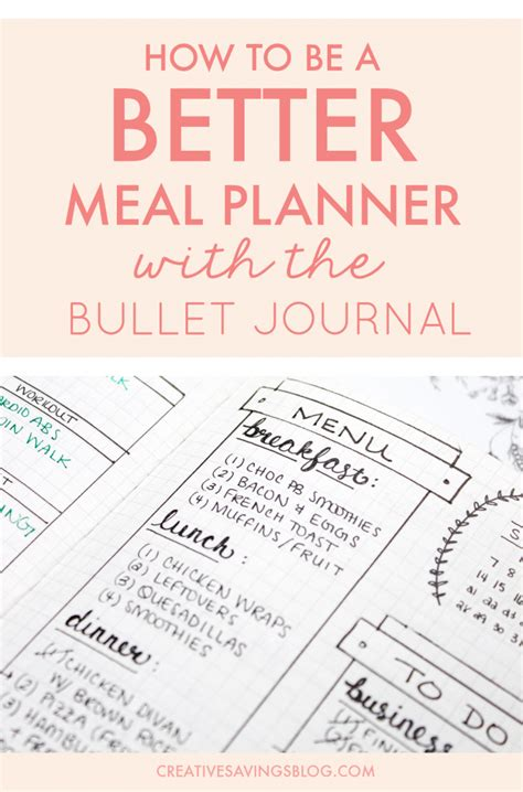 7 meal plan bullet journal layouts to become a better meal