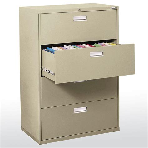 Horizontal File Cabinet Sandusky 600 Series 42 In W 4 Drawer Lateral File Cabinet In Dove Gray Lf6a424 05 The Home Depot
