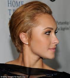 short hairstyles for women with side burns hayden panettiere trades her all american blonde locks for