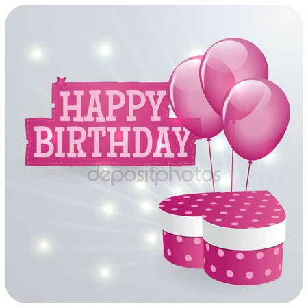 happy birthday gift card design happy birthday card design with pink balloons and gift box