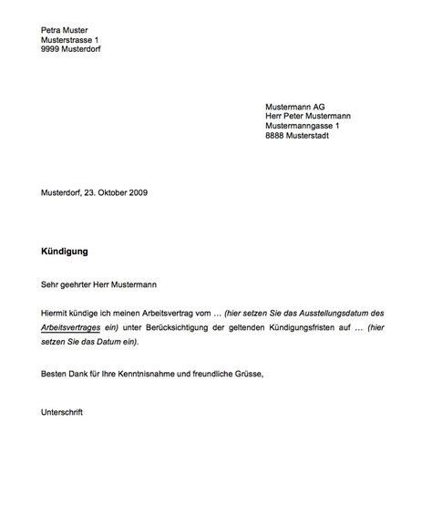 vorlage k 252 ndigung muster vorlage ch
