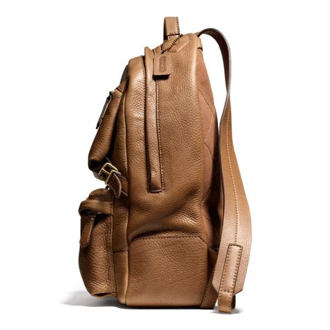 leather backpack coach bleecker backpack in pebbled leather in brown for lyst