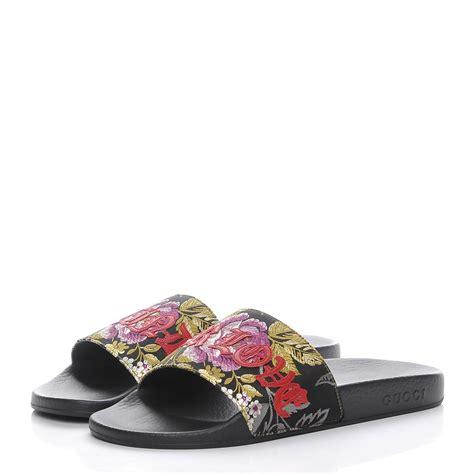 Wedges Gucci Flowers Black Wd05 gucci floral jacquard slide sandals 39 black multicolor 205845