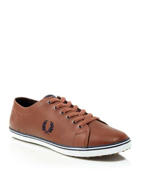 fred perry sneakers lyst fred perry kingston leather sneakers in brown for