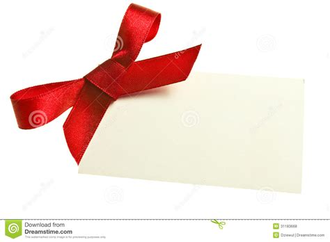 blank gift tag tied   bow  red satin ribbon isolated  white  soft shadow stock