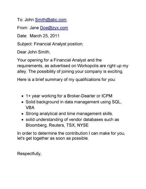 Cover Letter In Of Email by Email Cover Letter Sles Email Cover Letter For Financial Analyst Position
