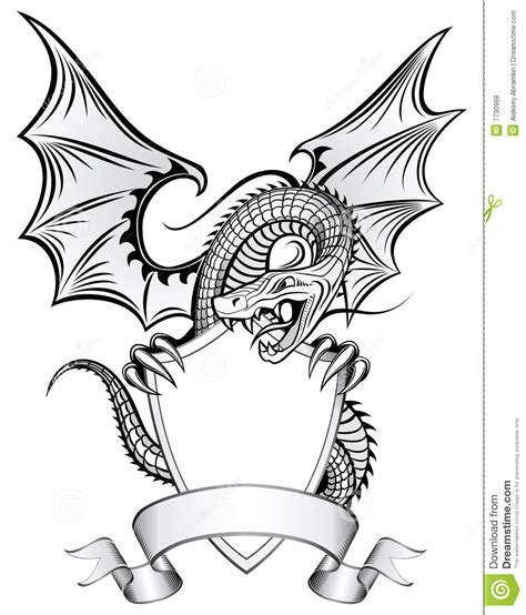 dragon upon the shield stock vector illustration of coat