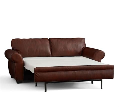 pottery barn leather sleeper sofa brown leather sleeper sofa tufted leather chesterfield