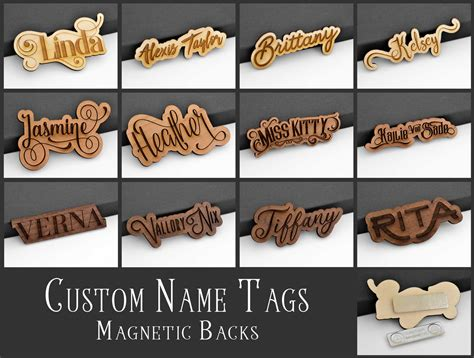 custom id tags custom name tag id badge magnetic laser engraved cut wood personalized font ebay