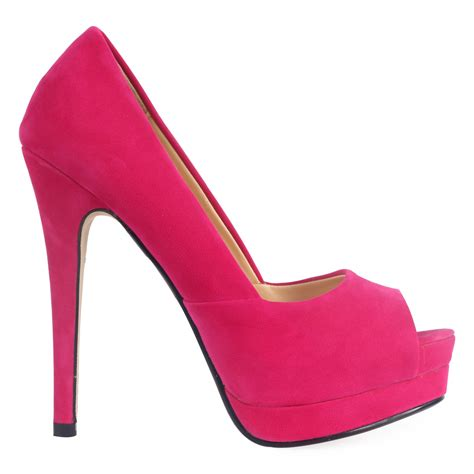 faux suede womens fuschia pink stiletto platform