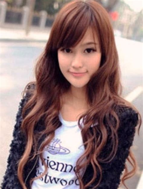 hairstyles for hair straight on top curly at bottom popular long asian women hairstyles with long curly hair