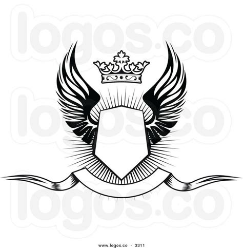 Pin Emblem Wing Hirbak 1 2 3 larger preview royalty free vector of a black and white