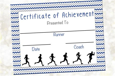 cross country certificate jog a thon award running