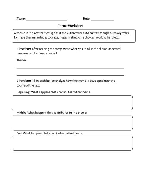 identifying themes literature review englishlinx com theme worksheets