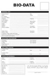 employee bio template biodata form templates word excel sles