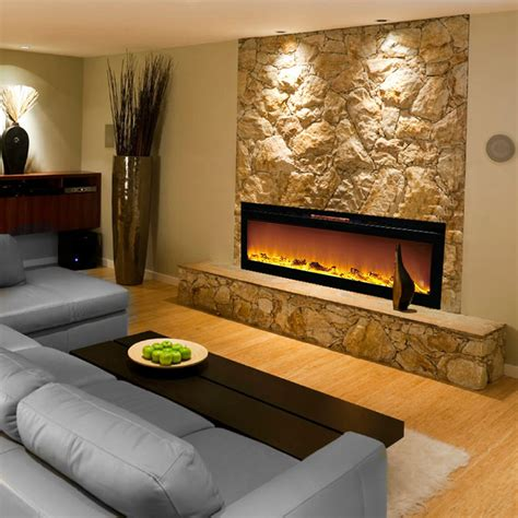 reno 60 inch log built in recessed wall mounted electric