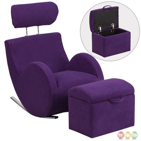 Chair With Storage Ottoman Hercules Series Purple Fabric Rocking Chair With Storage