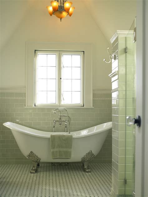 Bathroom Renovation Ideas For Small Spaces green glass subway tile bathroom midcentury with double