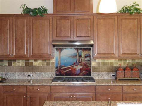 mural tiles for kitchen backsplash kitchen backsplash tile mural mediterranean kitchen