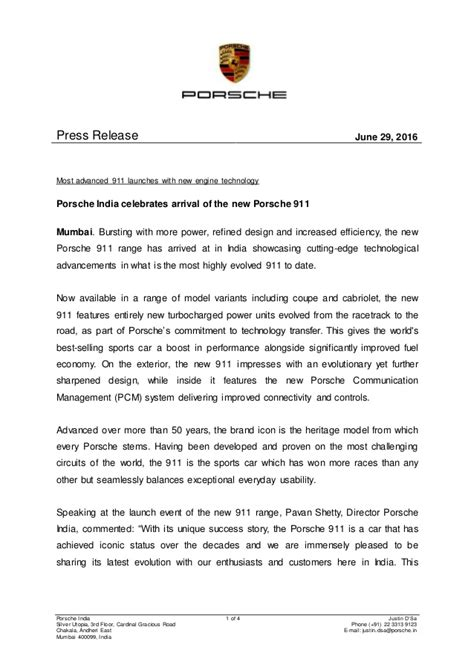New Porsche 911 India launch - Press Release