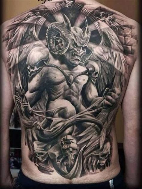 tattoo 3d devil 3d demon with angel wings tattoo on back body