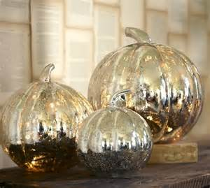Pottery Barn Thanksgiving Plates The Silver Lining Antique Mercury Glass Pumpkins