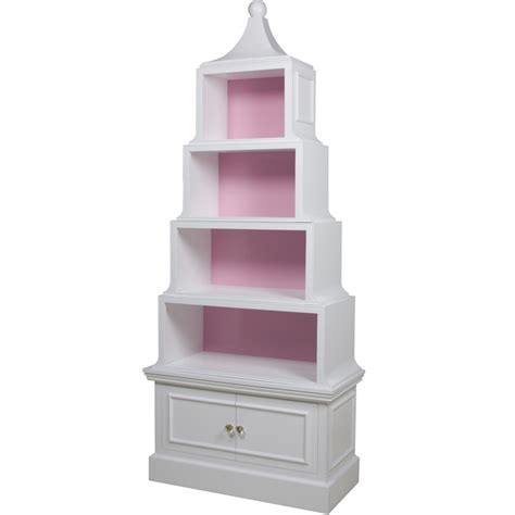 pagoda bookcase in antico white and pink by for