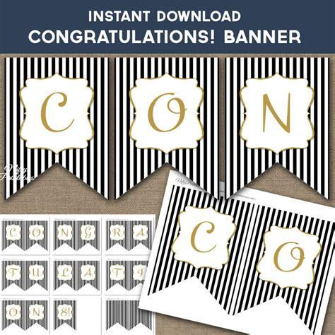 printable congrats banner printable congratulations banner black gold