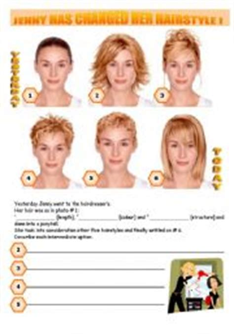 haircut vocabulary english with picture jenny has changed her hairstyle