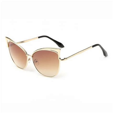Cutout Tip Sunglasses cat eye shape large keyhole bridge sunglasses chagne brown