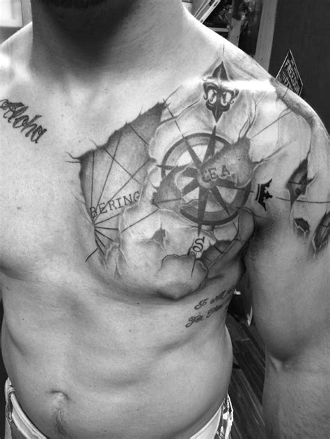 nautical map tattoo nautical chart compass chest shoulder