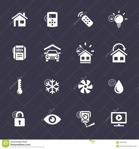 home automation systems icons stock vector image