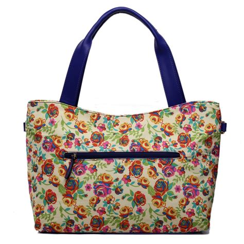 Flowery Tote Bag l1515nf miss lulu stylish canvas flower tote bag yellow