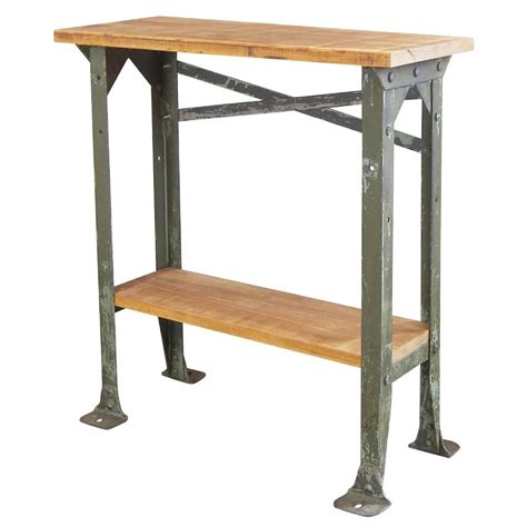 industrial metal side table industrial two tier wood and metal side table get back inc