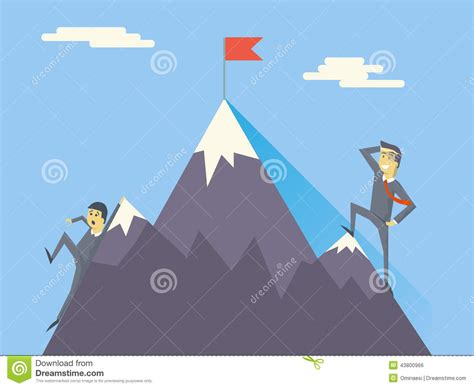 Top Flag businessman characters achievement top flag vector stock