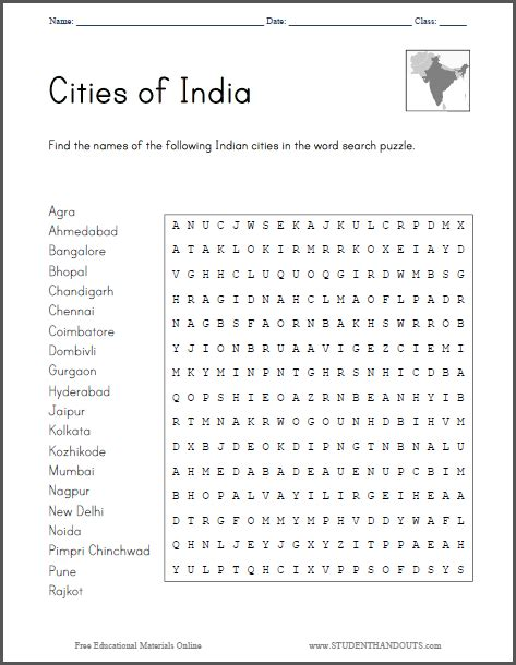 Search For On By City Cities Of India Word Search Puzzle Free To Print Pdf